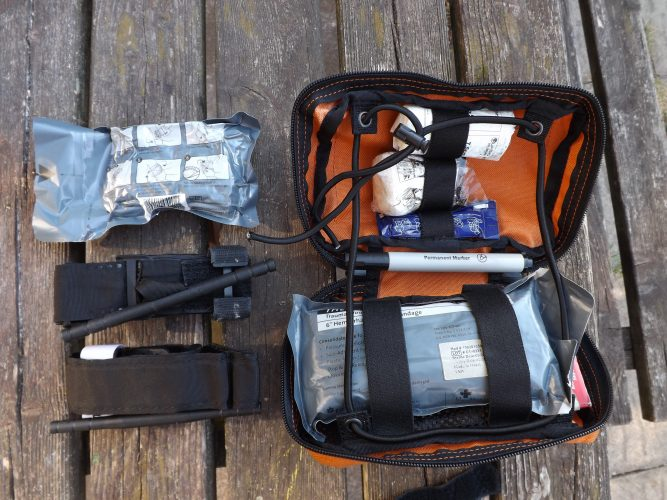 Figure 2; My own trauma kit that comes with me whenever I go shooting or hunting or am using an axe or chainsaw.